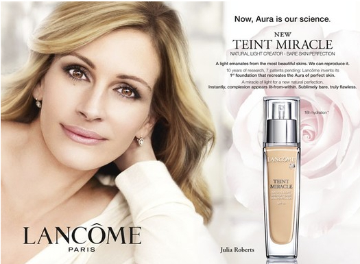 Banned Lancome ad featuring a heavily airbrushed Julia Roberts