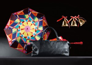 Marcel Wanders for M&S - Colour block umbrella, £29.50, Men's leather top stitch overnighter bag, £149, Glass bell decoration, £4