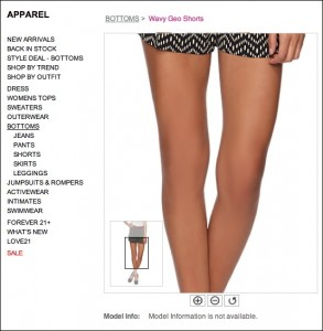 Kneecap-less model in another of Forever 21's website images