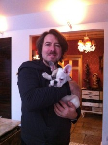 Jonathan Ross and Snowball - sourced from the Jonathan Ross Twitter gallery