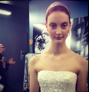Codie Young backstage at the Reem Acra bridal show, sourced via Codie Young's Blog