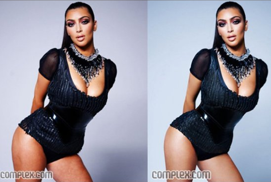 Kim Kardashian's famous curves before and after photoshop (click to enlarge)
