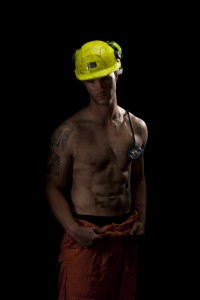 Talent Management's 32-year-old male model Matt in the coal miner shoot