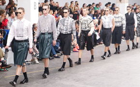 Male models on the James Long SS13 catwalk at London Collections: Men June 2013