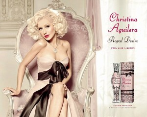 Christina Aguilera models in an ad for her new fragrance Royal Desire