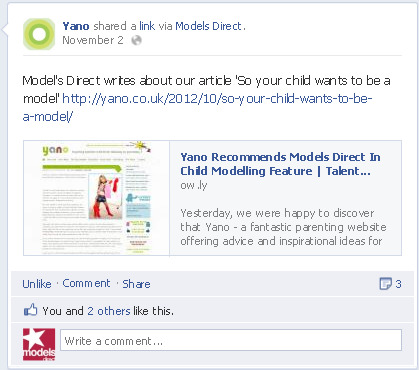 Screen shot of Yano's Facebook Page sharing our blog!