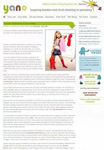 Screenshoot of Yano's So your child wants to be a model' article featuring Models Direct towards the end of the feature
