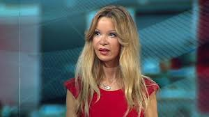 Screen shot of Alicia Douvall taken from her BBC interview on cosmetic surgery